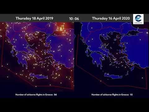 Air traffic situation over Greece - 18 April 2019 vs 16 April 2020