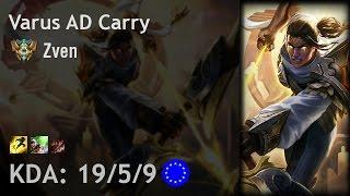 Varus AD Carry vs Caitlyn - Zven - EUW Challenger Patch 6.24