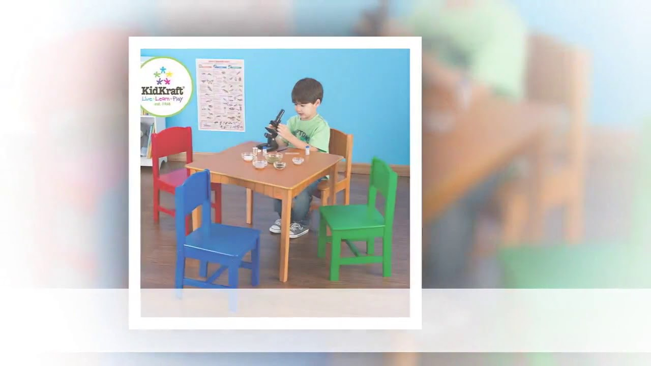 Kidkraft Nantucket Table u0026 4 Pastel Chairs 26101 & Kidkraft Nantucket Table u0026 4 Pastel Chairs 26101 - YouTube