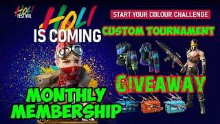 Garena Free Fire Custom Room Tournament Giveaway Monthly Membership