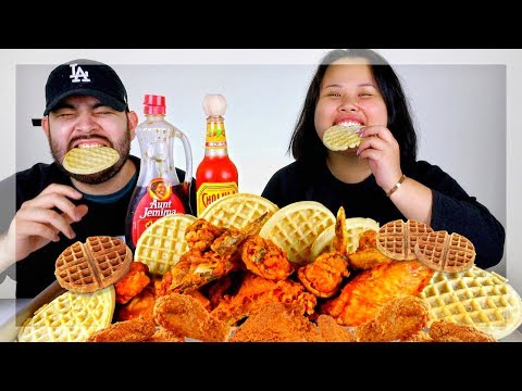 FRIED CHICKEN + WAFFLES MUKBANG 먹방 (EATING SHOW!)