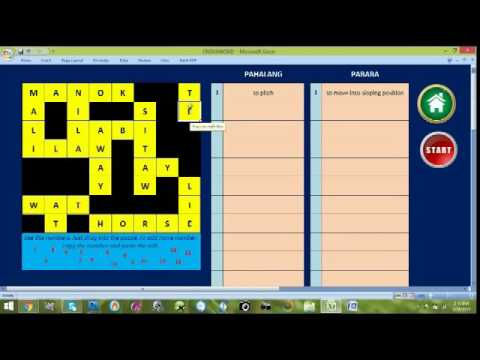 how to use the automated and interactive crossword puzzle template by thaddeus r fernandez