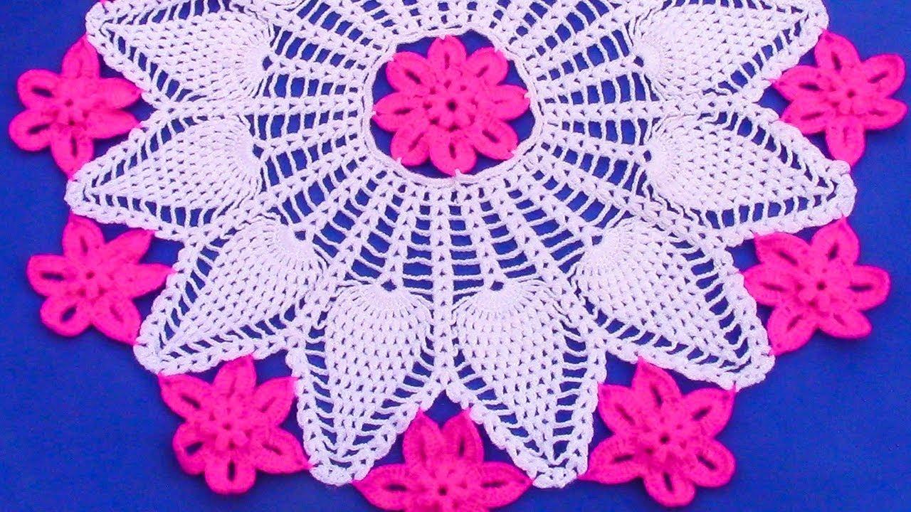 Tapete o carpeta a crochet con flores en punto piñas combinado con ...