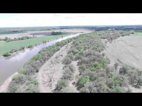 drone view of arkansas river deer property in Kansas