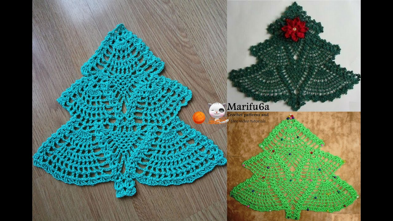 Christmas Crochet Patterns : How to crochet Christmas tree doily hot pad pattern by marifu6a ...