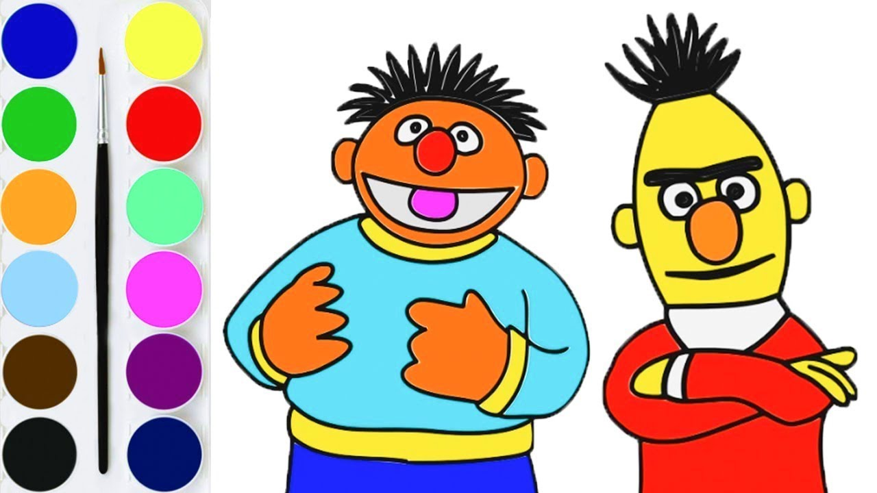 How To Draw Sesame Street Characters Elmo Bert Ernie Children Learn Colours Drawing For Kids