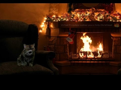 Jolly Christmas Fireplace with Smacking Cat and Crackling Fire ...