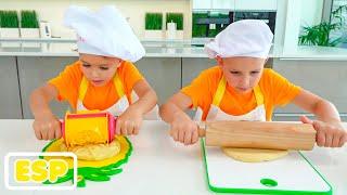 Vlad y Niki preparan el desayuno para mamá