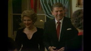 President Reagan and Nancy Reagan at Congressional Christmas Party on December 19, 1982