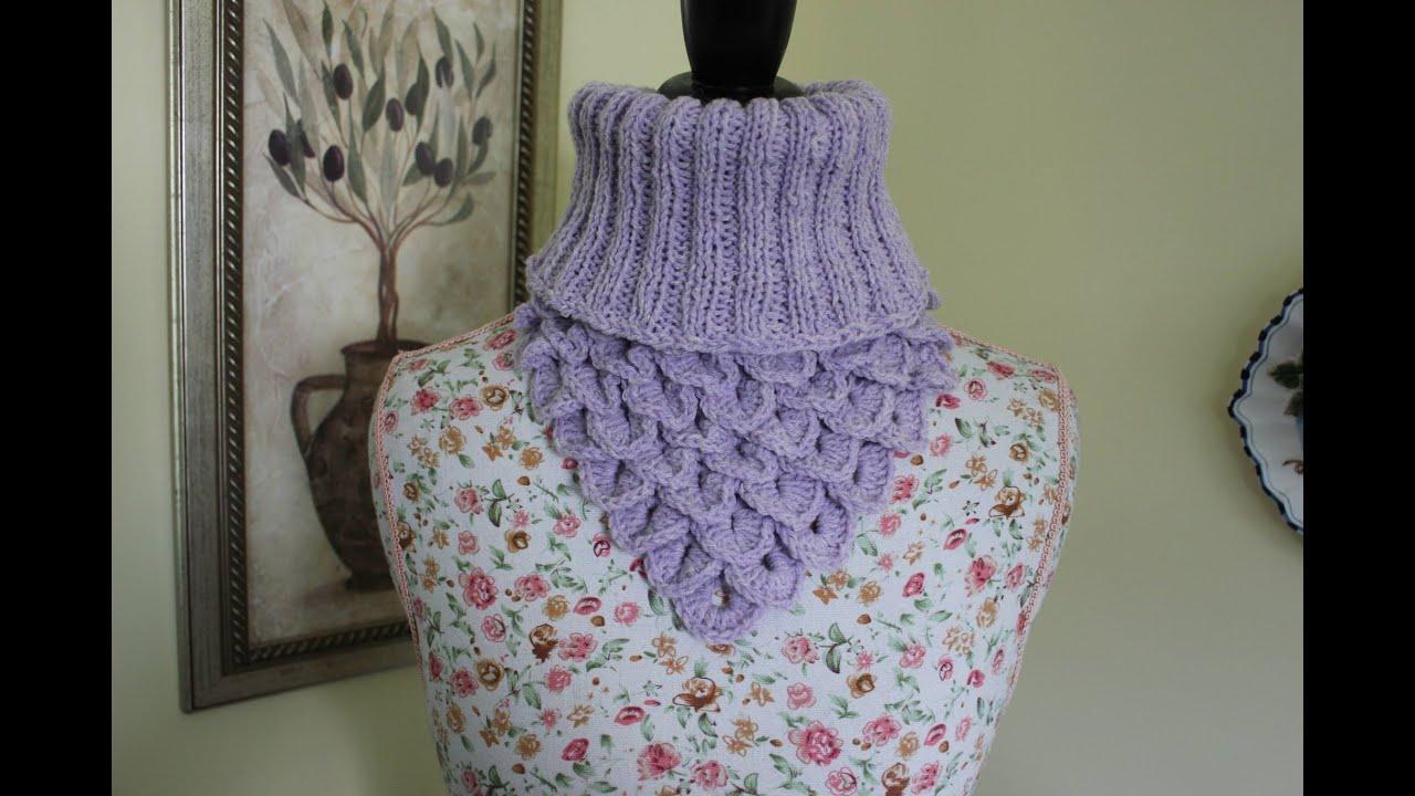 How to Crochet the Crocodile Stitch Neck Warmer - YouTube
