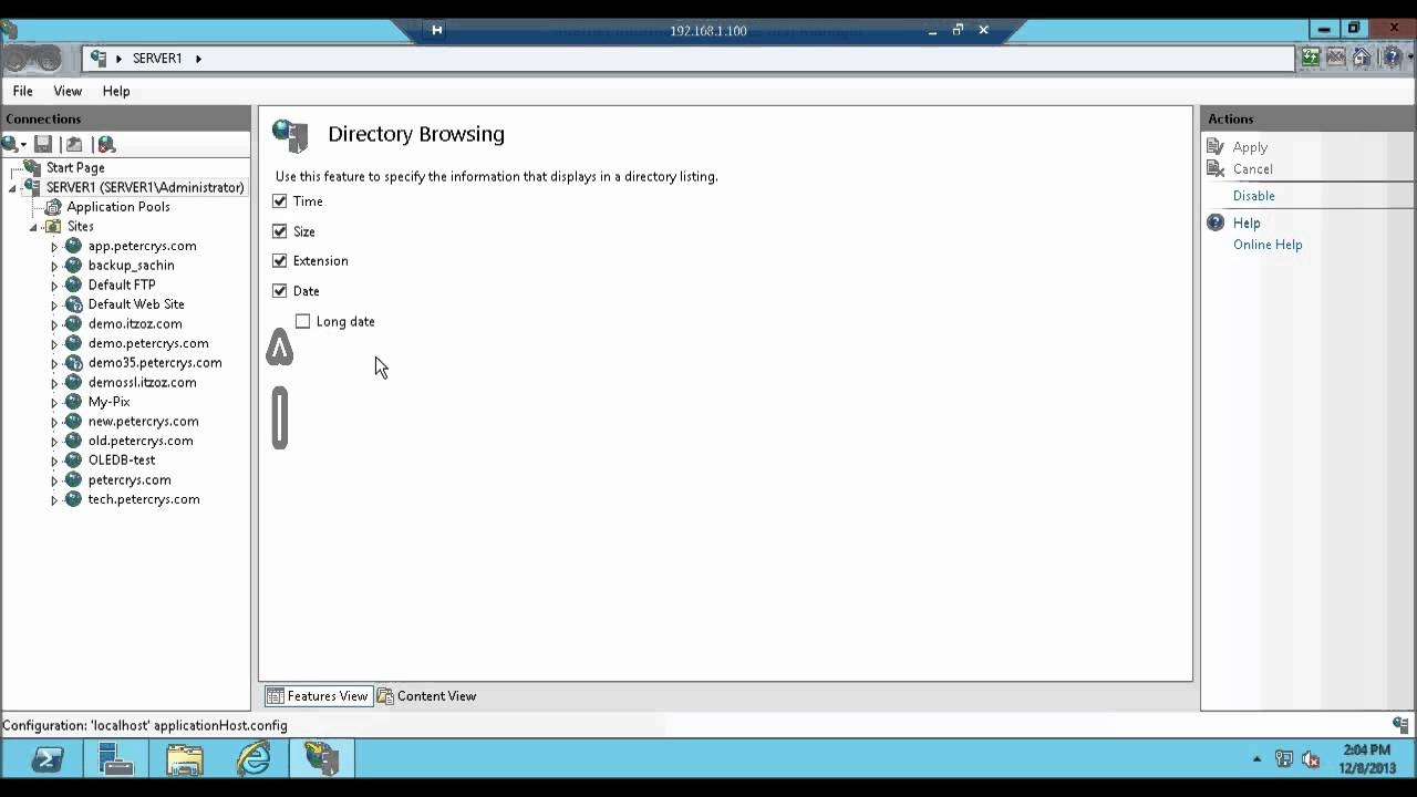 Directory Browsing : How to enable or configure in IIS 8 on Windows Server  2012