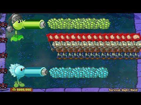Plants vs Zombies hack - Snow Pea vs Gatling Pea vs 999 Zombie