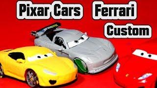 Pixar Cars Ferrari Custom Paint Job with Primer Jeff Gorvette and Retired Lightning McQueen