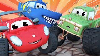 Monster trucks for children - Moe gets carried away!  - Monster Town