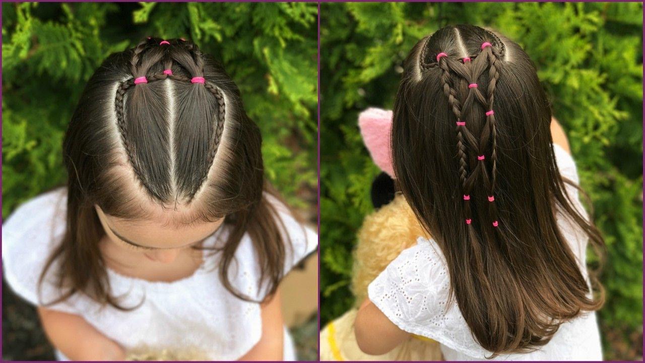 Fabuloso peinados de niñas Colección De Cortes De Pelo Consejos - Peinado con doble coleta y trenzas con ligas para niñas ...