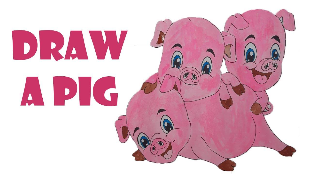 vẽ con heo |vẽ và tô màu con heo |hướng dẫn vẽ con heo |vẽ ba chú heo con |draw a pig