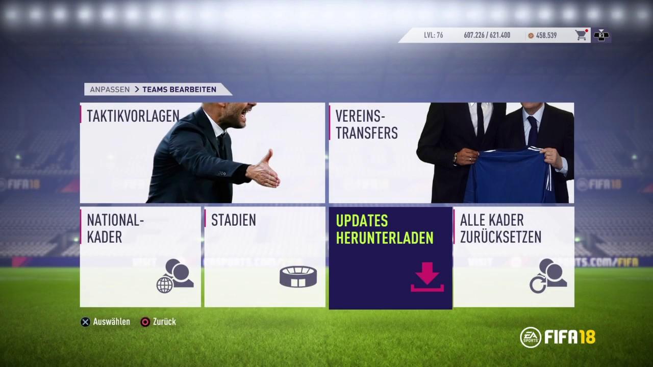 FIFA 18 Kader Aufstellung Transfers und Spieler aktualisieren Update Let's Play FIFA 18