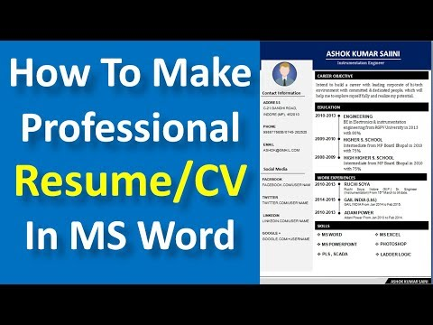 How to make a professional resume/CV in MS Word || How to write resume in ms word in Hindi -
