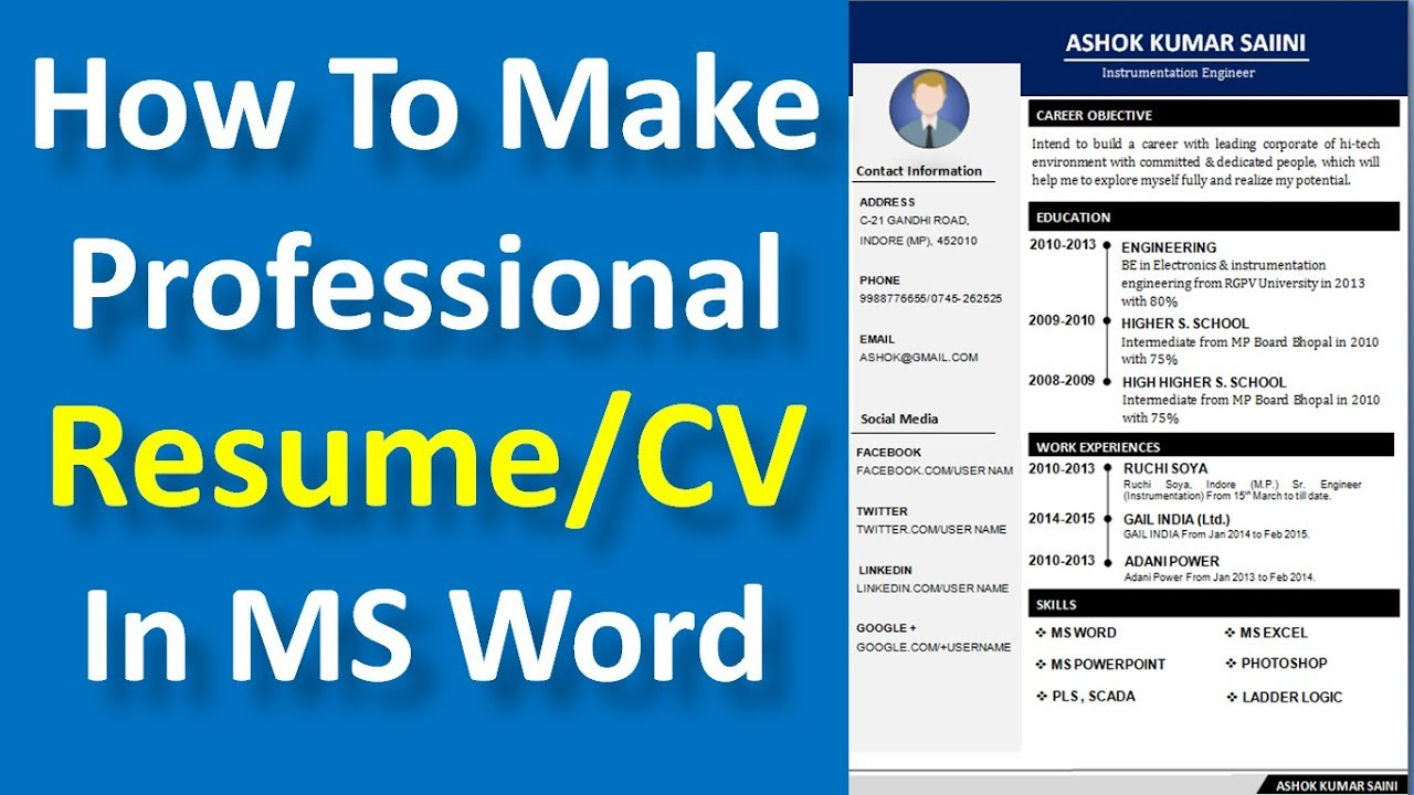 how to make a professional resume  cv in ms word
