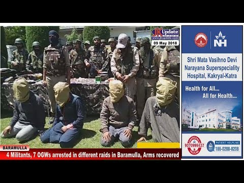 4 Militants, 7 OGWs arrested in different raids in Baramulla, Arms recovered
