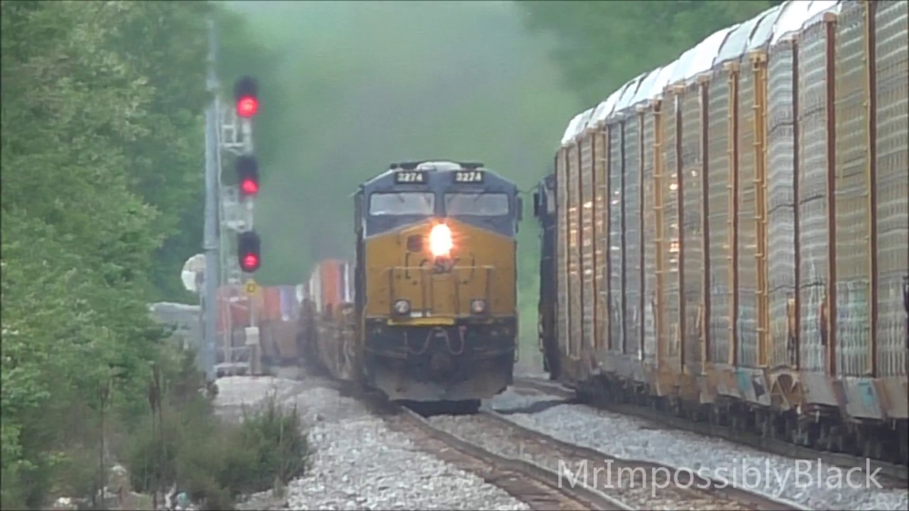 CSX Freight Trains Through Muirkirk Station, Maryland 5/1/2017