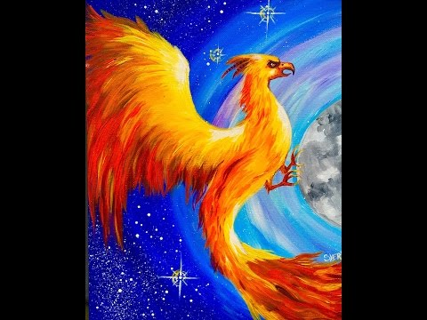 Fawkes the Phoenix Harry Potter learn to paint Beginner acrylic tutorial #Angelooney