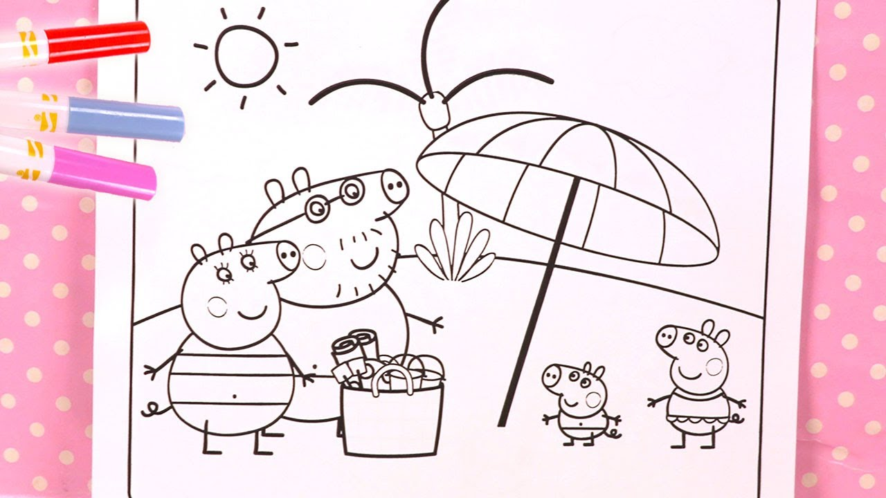 Coloriage Peppa Pig Coloring Book Plage - YouTube