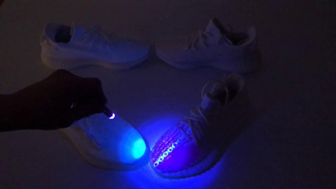 a7f126a94d1 YEEZY BOOST 350 V2 CREAM WHITE/TRIPLE WHITE - Real Vs. Fake (UV LIGHT  TESTING)