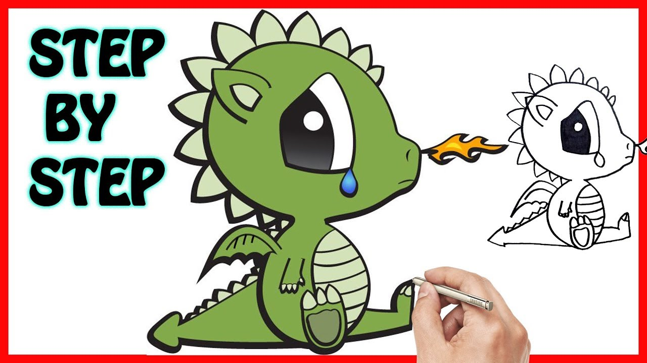 How To Draw Baby Dragon Easy Step By Step Coloring Pages For Kids Learn Art Tutorials