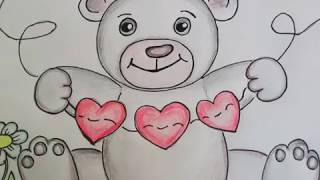 Рисуем Мишку Тедди с сердечками. Уроки рисования для детей и начинающих