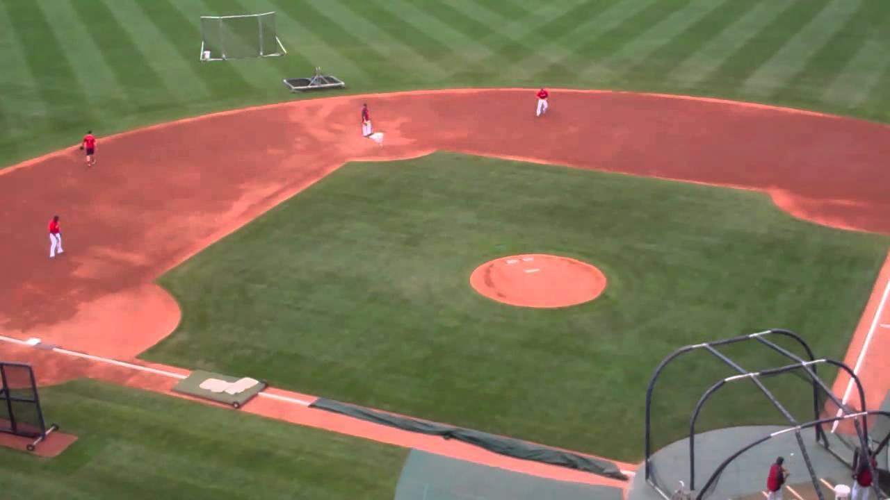 July 25 2011 Boston Red Sox Dustin Pedroia Jed Lowrie Yamaico Navarro fielding practice.flv