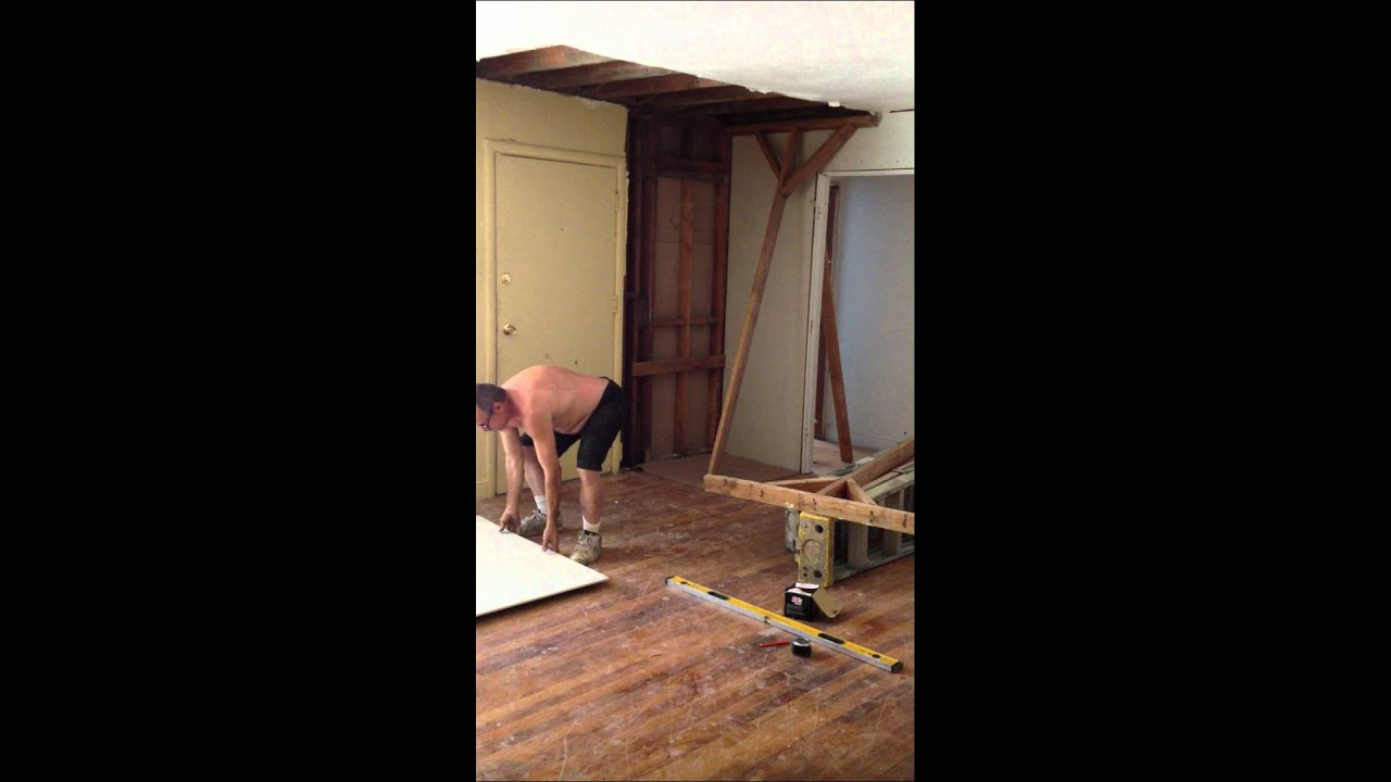 Install 4x8 12 Sheet Rock On Ceiling By Yourself Part 1 Youtube