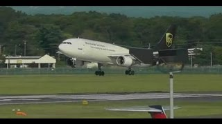UPS A300-600 Lands Runway 33 at Bradley International Airport [BDL]