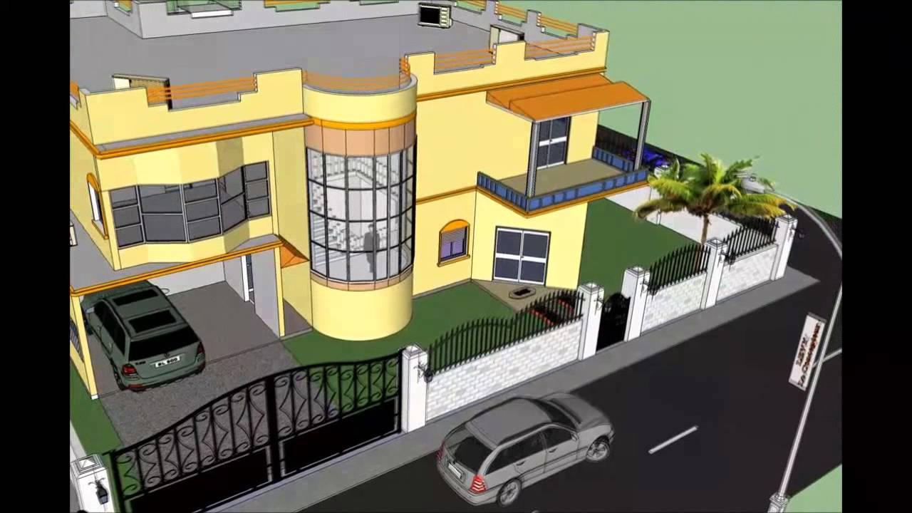 Conception 3d projet villa duplex youtube for Plan maison duplex 4 chambres