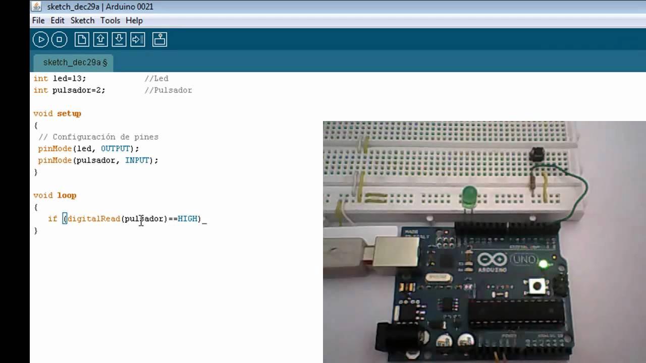 Arduino básico T10AB - Encender LED con un pulsador - YouTube