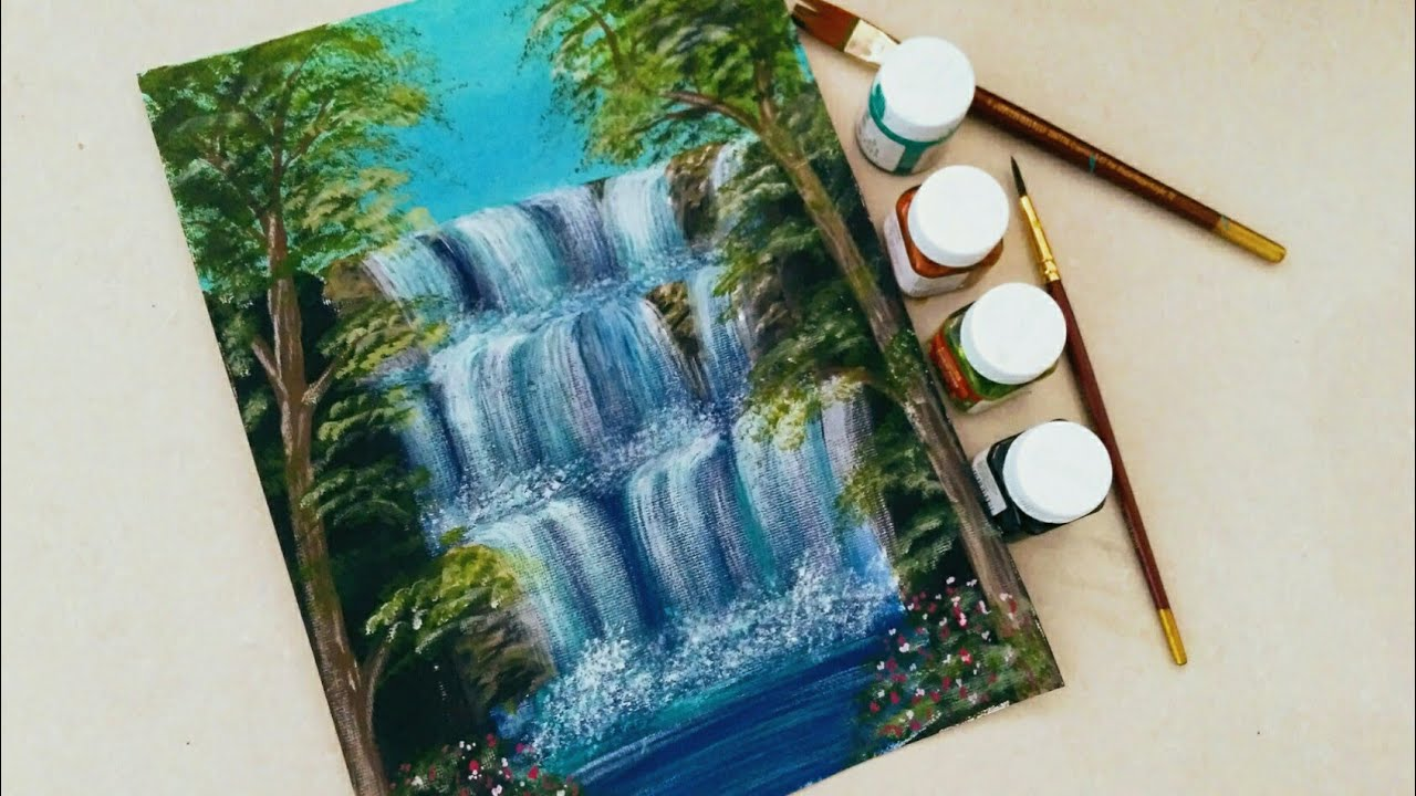 Easy Waterfall Landscape Painting Tutorial For Beginners