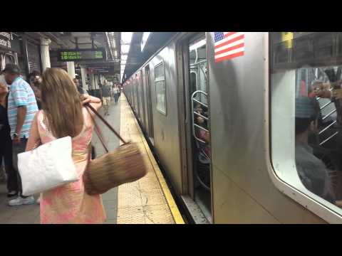 IRT Lexington Avenue Line: Downtown & Uptown R142/A (4) (5) Trains @ Wall Street