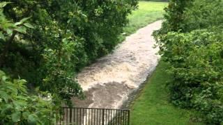 Hochwasser Itter am 27.05.2014 in Hilden, NRW