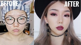 How I Put My Face On For Instagram - Red Plum Colored Affordable Monolid Makeup Tutorial 2017