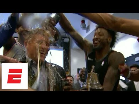 Philadelphia 76ers celebrate in locker room after beating Heat in first round | ESPN