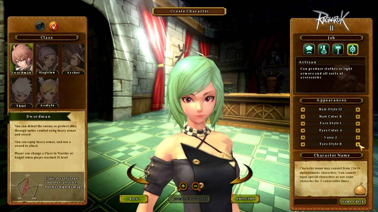 ragnarok online 2 lots female character creation youtube