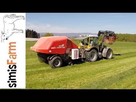 simisFarm - Rigitrac 120 mit Bucher Taarup Bio Rundballenpresse