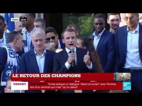 """""""Vive la République et Vive la France"""" : Discours d'Emmanuel MACRON après le sacre des Bleus"""
