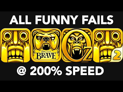 Temple Run 1 vs 2 vs OZ vs BRAVE | All Temple Run Games, All Temple Run Deaths at 200% Speed