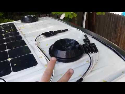 STEALTH VAN VENTURES: Van build part 7: solar system installed and roof vents and TV mount