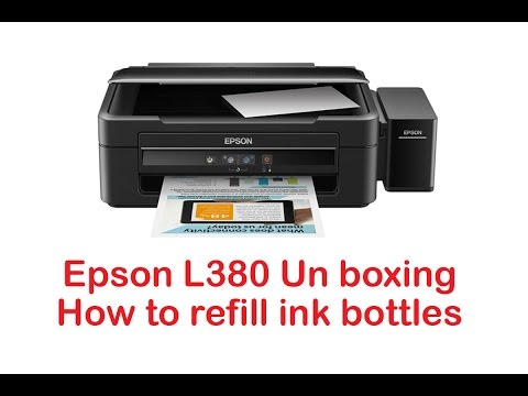 Unboxing Epson L380 All in One Print How to refill ink bottles