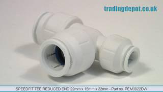 PEM3022DDG REDUCING TEE 22X15X22MM JG Speed Fit /& Fast Track Tube /& Fitts