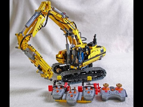 Lego excavator with electric drill hammer