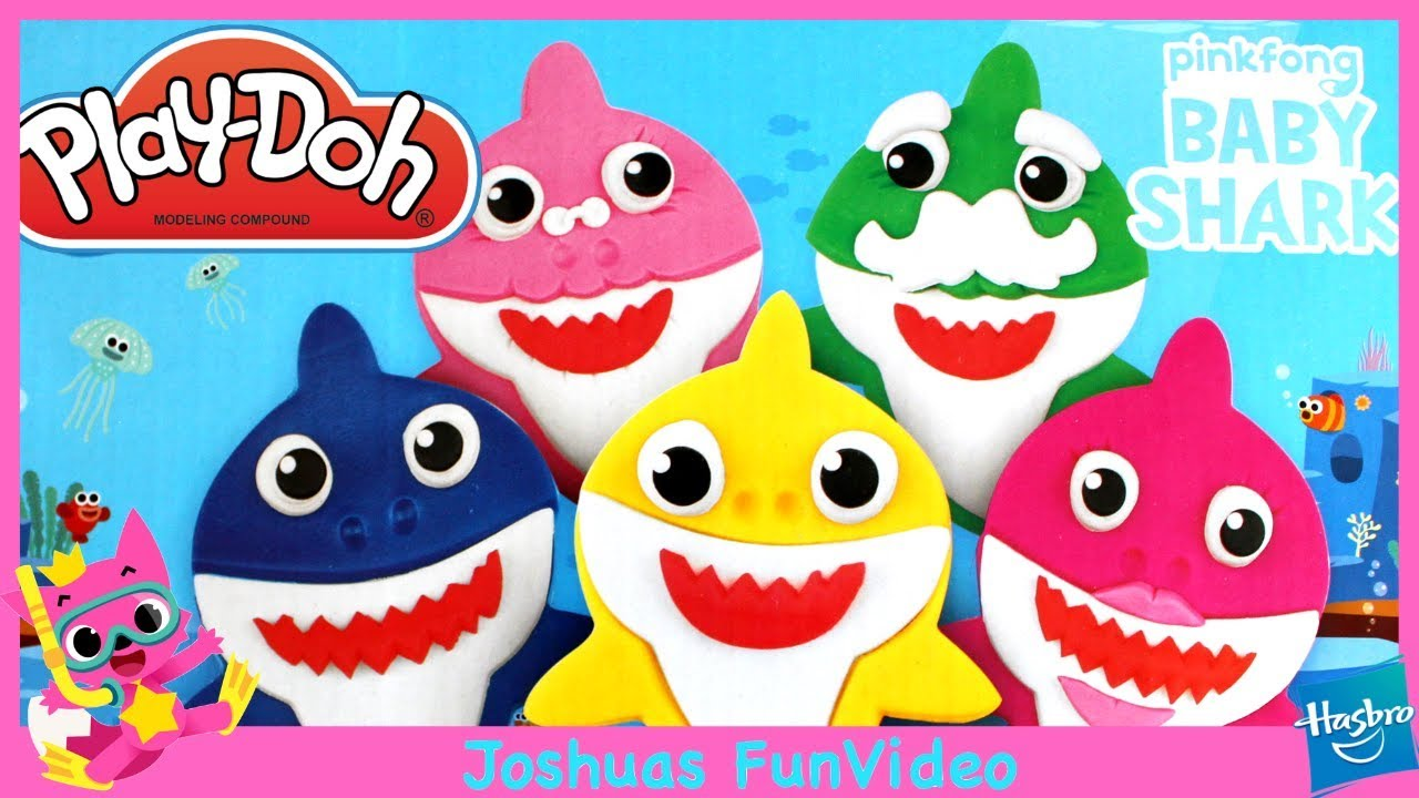 Play Doh Baby Shark Set 12 Vasetti Colorati Plastilina Atossica