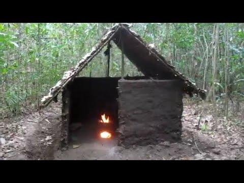 Primitive Technologie Waldhutte Kamin Bauen Youtube